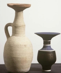 Greco-Roman Vessel and Lucie Rie, bottle with flared rim, 1970s (C1265)