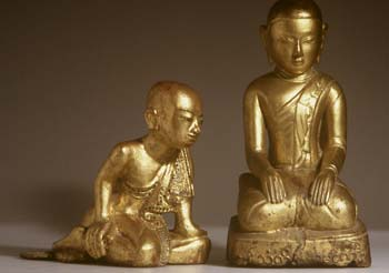 Gilt wooden buddhas from Tibet