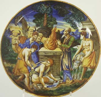 Italian istoriato plate, Noah's Sacrifice, after Raphael, 16th century, currently on loan to the National Museum of Wales in Cardiff.