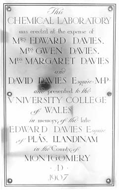 Plaque recording the opening of the Edward Davies Building in 1907.
