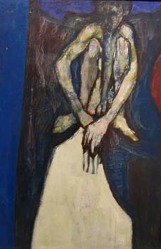 Crouching Boy, oil on board 1960s (Artist's Estate)