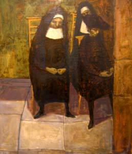 Nuns outside a Confessional, oil on board,1960s (Private Collection)