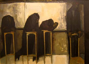 Penitents, oil on board, 1960s (Private Collection