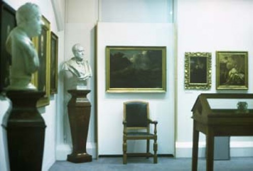 Paintings and sculpture in the School of Art Gallery.